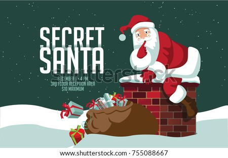 Cartoon Santa Claus climbing into the chimney to deliver his sack of gifts. Background for Secret Santa with copy space. EPS 10 vector.