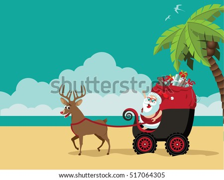cartoon santa claus delivering