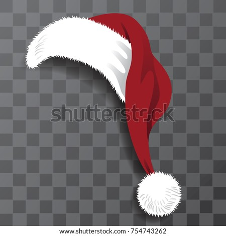 Cartoon Santa Claus hat with transparent shadow. EPS 10 vector.