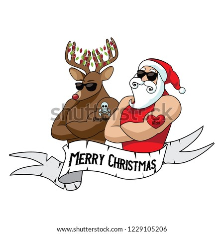 Cartoon Santa Claus muscle man mascot with his muscular reindeer sporting naughty and nice tattoos. Tattoo Santa Claus logo idea. Eps10 vector illustration.