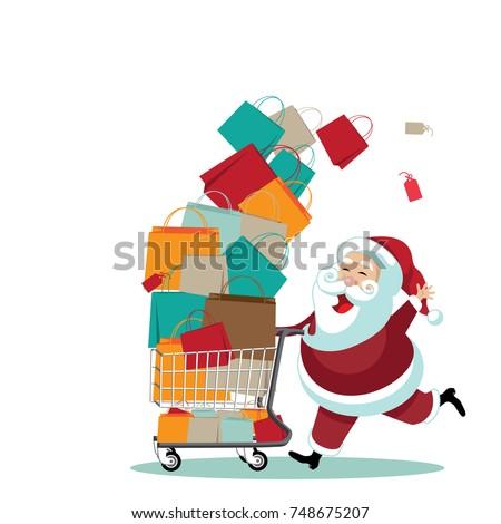 Cartoon Santa Claus pushing a shopping cart full of gifts. EPS 10 vector.