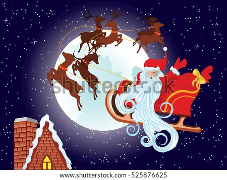 cartoon santa claus riding his