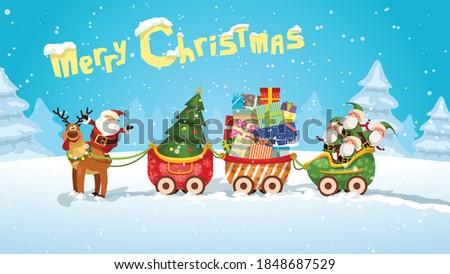 cartoon santa claus sleigh in the woods Foto stock ©