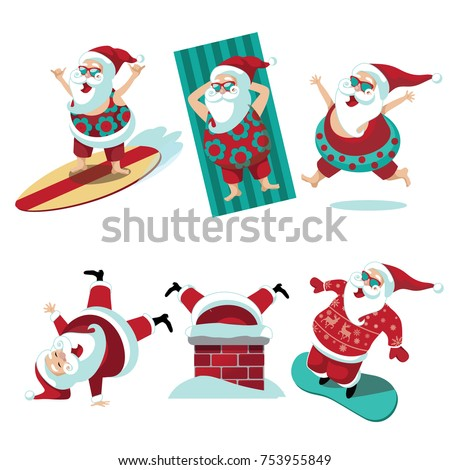 cartoon santa claus summer and