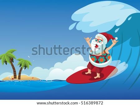 cartoon santa claus surfing a