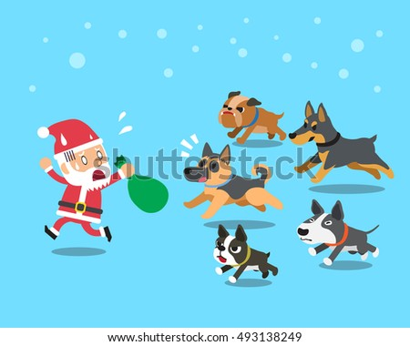 cartoon santa claus with dogs