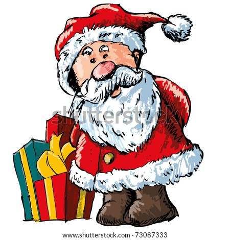 Cartoon Santa Clause with a bag