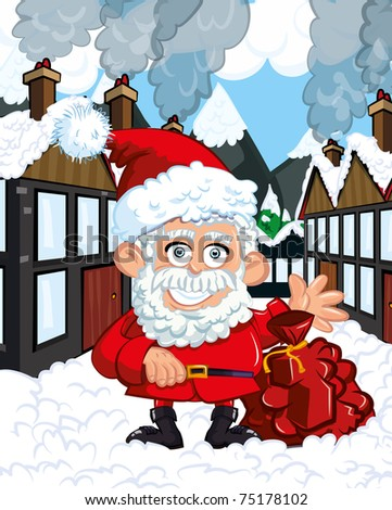 Cartoon Santa Clause with a bag in a snowy town street