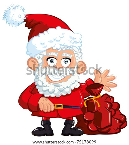 Cartoon Santa Clause with a bag isolated on white