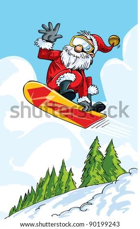 cartoon santa doing a jump on a