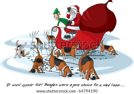 Cartoon Santa on his sleigh. Layered vector file available. Each Beagle, Santa, Elf, Sled, and background are all on separate layers.