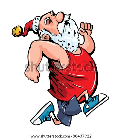 Cartoon Santa running for exercise.Isolated on white