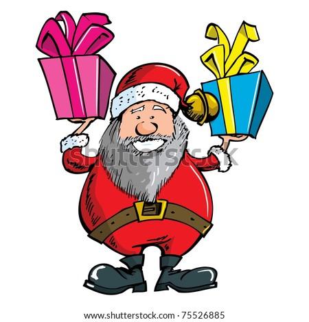 Cartoon Santa with a white beard. Isolated on white