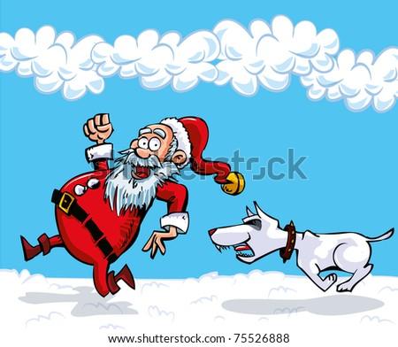 cartoon santa with a white