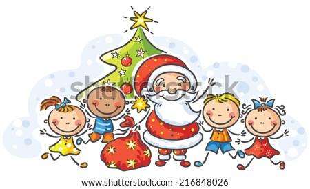 cartoon santa with kids - Santa And Kids