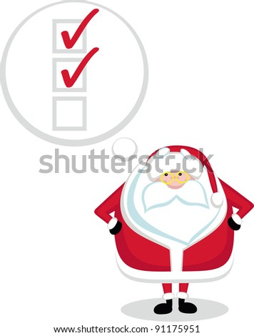 Cartoon Santa with thought bubble and check boxes. Vector illustration
