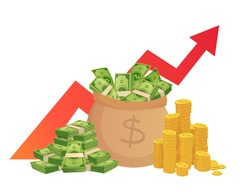 Cartoon savings value growth. Money profit increase, profitable investments chart with red graph arrow and cash pile. Banking profit stack, financial earning wealth vector illustration
