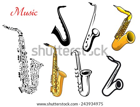 Cartoon saxophone music instruments isolated on white, one with musical notes