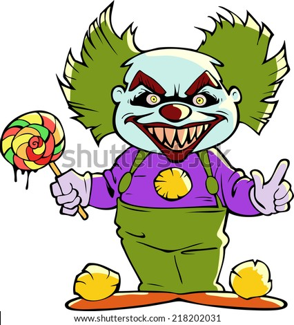 cartoon scary clown isolated