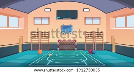 Cartoon school court. Gym with basketball basket and football goal or gymnastic equipment. Comfortable playground for playing active games and training. Vector gymnasium sport hall for kids workout Stock photo ©