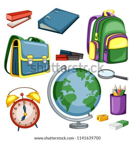 Cartoon School Equipment, Backpacks, Globe, Pencils, Eraser, Sharpener, Markers, Alarm Clock, Stapler Vector Illustration Isolated on White Background. Set of School Stationery Tools, Office Supplies