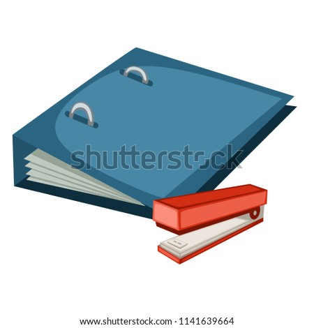 Cartoon School Equipment, Red Stapler and Blue File Folder Vector Illustration Isolated on White Background. Set of School Stationery Tools. School and Office Supplies