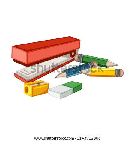 Cartoon School Equipment, Red Stapler, Eraser, Sharpener, Pencils Vector Illustration Isolated on White Background. Set of School Stationery Tools. School and Office Supplies