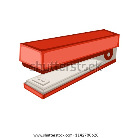 Cartoon School Equipment, Red Stapler Vector Illustration Isolated on White Background. Set of School Stationery Tools. School and Office Supplies