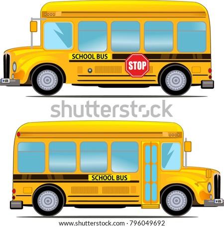 Cartoon School Kids Riding a School Bus