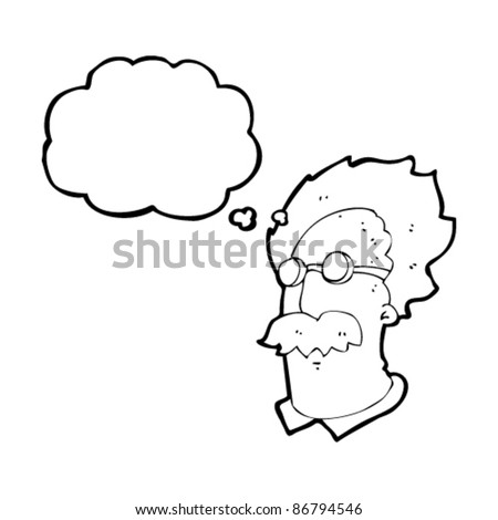 cartoon scientist head with thought bubble