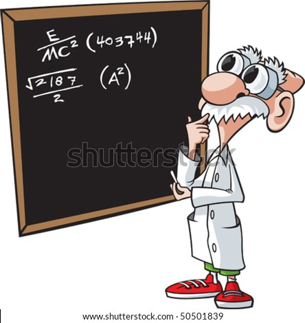 Cartoon scientist. Vector file. Scientist and chalkboard are on separate layers.