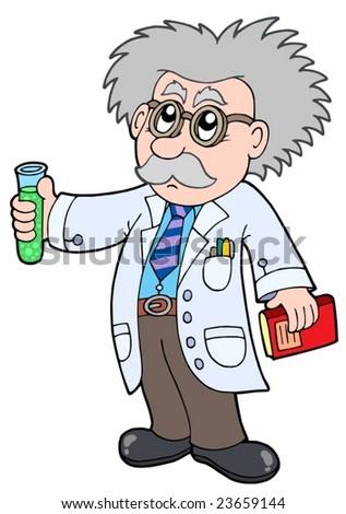 Cartoon scientist - vector illustration.