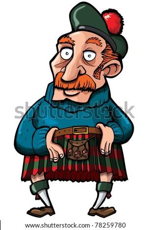 Cartoon Scotsman with a kilt and sporran. Isolated on white Сток-фото ©