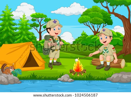 cartoon scout with tent and