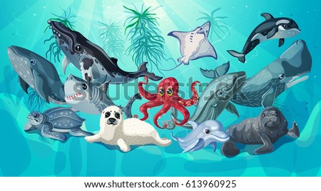 Stock Photo Cartoon sea and ocean life template with underwater animals on nature marine landscape vector illustration