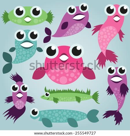cartoon sea fish set  funny