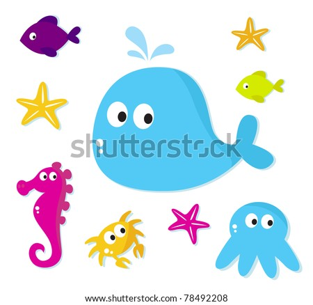 Cartoon Sea fishes and animals icons isolated on white background