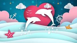 Cartoon sea landscape. Dolphin illustration. Vector eps 10
