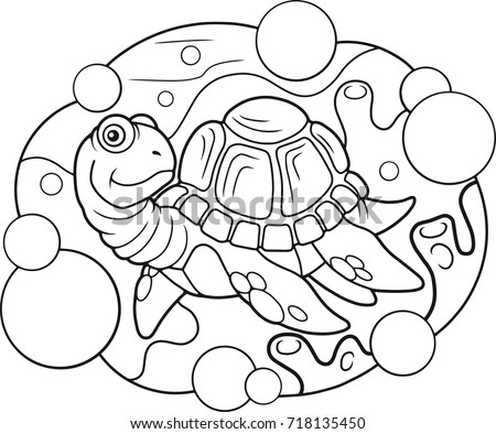 Cartoon Sea Turtle Funny Illustration Stylized