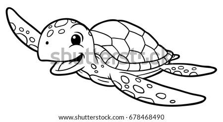 Cartoon Sea Turtle Line Art