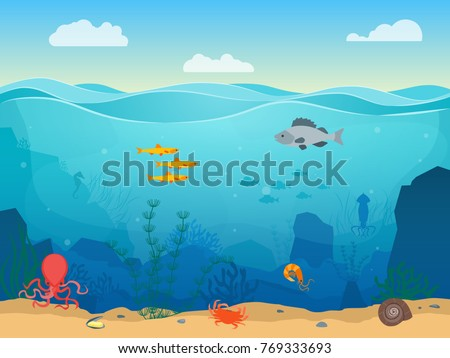 cartoon sea underwater nature