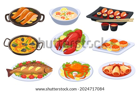 Cartoon seafood dishes, asian food and cuisine. Sushi, lobster, salmon, shrimp soup, baked fish. Delicious festive seafood dish vector set. Traditional japanese meal, restaurant presentation