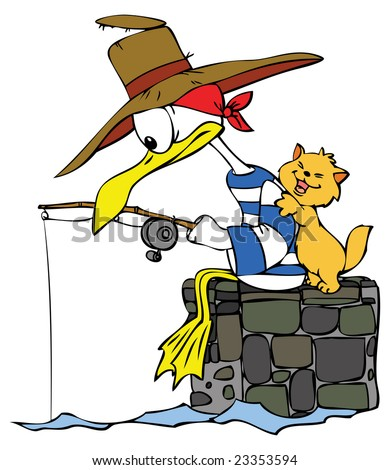 Cartoon Seagull and a Cat gone fishing.