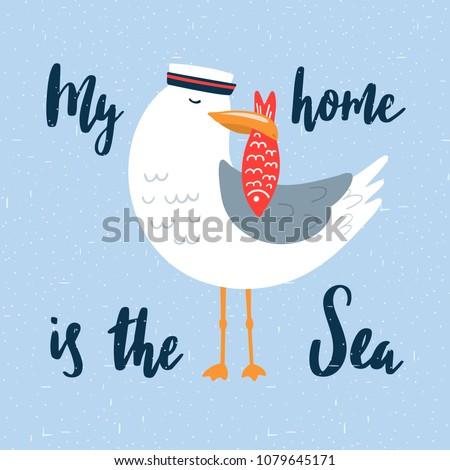 cartoon seagull sailor