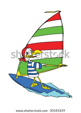 Cartoon seagull wind surfing happily on the sea.