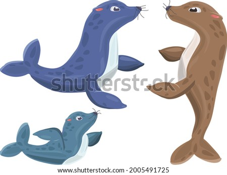 Cartoon Seal Family. Seals On White Background. Baby Seal. Adult Seal. Brown Seal