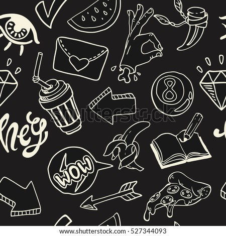 cartoon seamless background with funny stickers in comic style in dark palette, pattern inshalk board