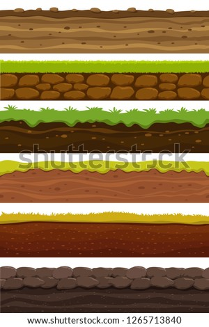 Cartoon seamless grounds. Wide landscape ground. Land and soil for ui game vector collection