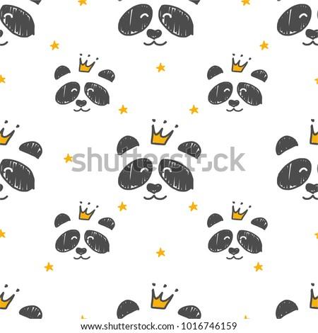 Cartoon Seamless Panda Princess pattern. Use for print design, surface design, fashion kids wear.