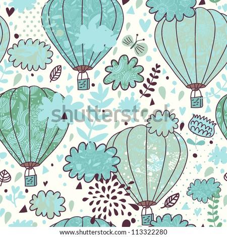 Cartoon seamless pattern. Balloons in the sky.